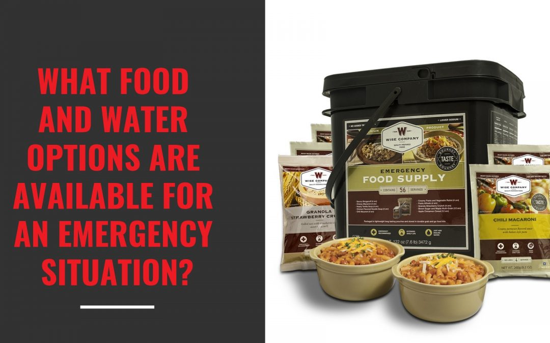 What food and water options are available for an emergency situation?