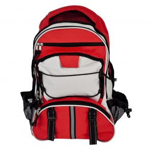 Red hiker's style backpack with reflective strips.